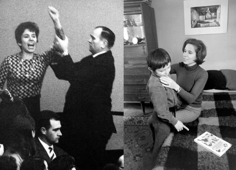 Beate Klarsfeld, links im Bundestag in Bonn 1968, rechts mit ihrem Sohn Arno